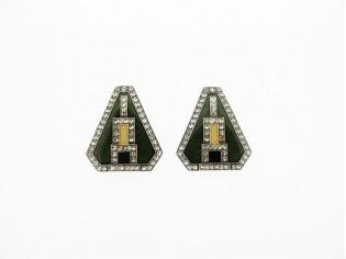 Zilveren oorclip stijlvolle Franse Art Deco oorclip groen oker zwart ingekleurd