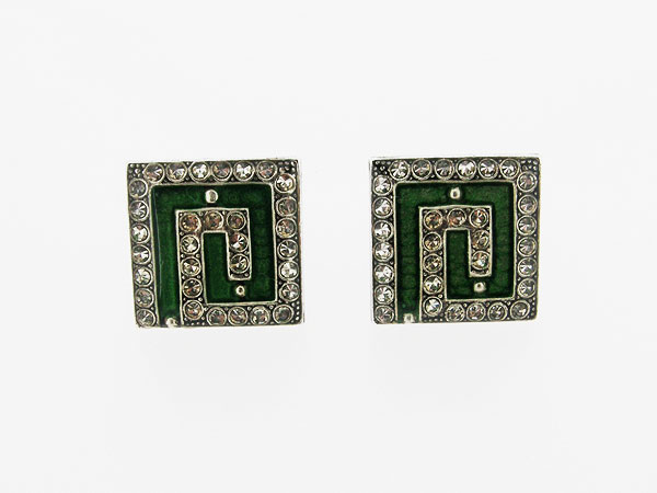 Zilveren oorclip stijlvolle Franse Art Deco vierkante oorclip groen ingekleurd