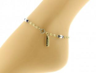 Gouden enkelbandje met kleine schakeltjes, pareltjes en Lapis edelsteentjes
