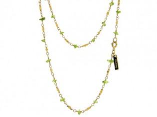 Gouden halsketting met fantasie schakel en peridoot Olivijn split edelsteentjes