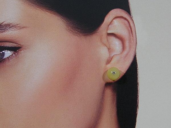 Gele Jade edelsteen oorknopjes met zilveren stekertjes