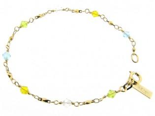 Gouden armbandje met fantasie schakeltjes en gekleurde Swarovski kristallen