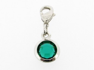 Zilveren bedeltje met smaragd Swarovski kristal