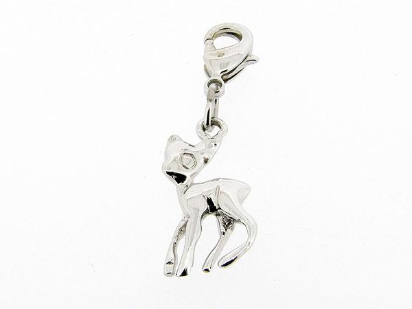 Zilveren bedeltje met bambi figuurtje