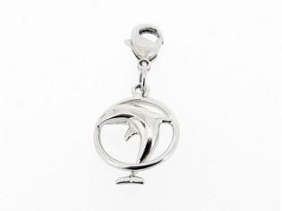 Zilveren bedeltje met dolfijn door ring figuurtje