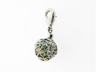 Zilveren bedeltje met Swarovski peridoot crystal in filgrain bol