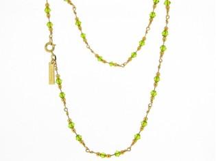 Gouden halsketting met peridoot Olivijn Swarovski kristallen