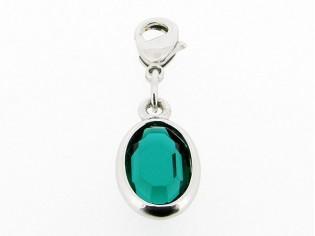 Zilveren bedeltje met ovale smaragd Swarovski kristal