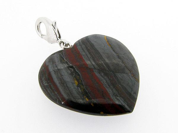 Charm met donkere Jaspis edelsteen in hart vorm geslepen