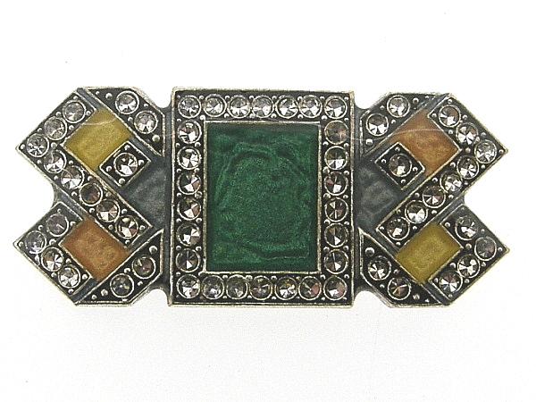Art Deco broche met groen geel gekleurd emaille en ingelegde Swarovski kristallen