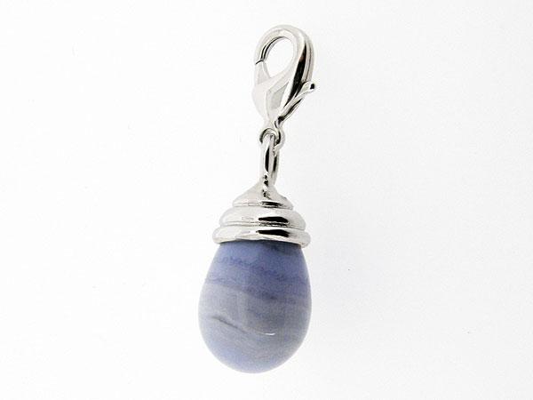Charm met Bleu Lace Agaat edelsteen in druppel vorm geslepen