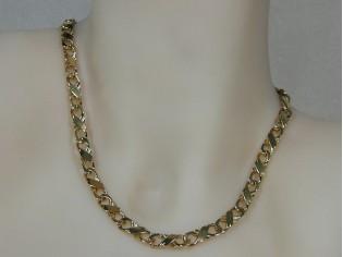 Gouden halsketting fantasie gediamanteerde gourmet schakel ketting