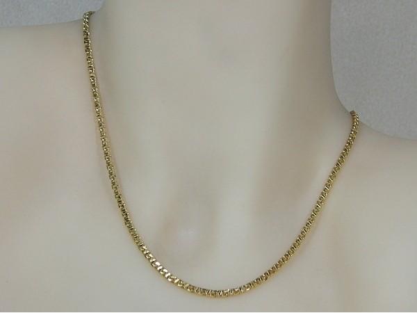 Gouden halsketting fragiel gourmet schakel collier met vlakke schakel