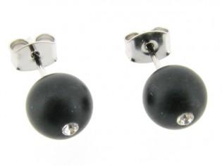 Gematteerde onyx edelsteen oorknopjes met zilveren stekertjes.