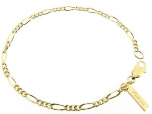 Gouden armbandje met fragiel figaro vlak gediamanteerd geslepen schakeltjes