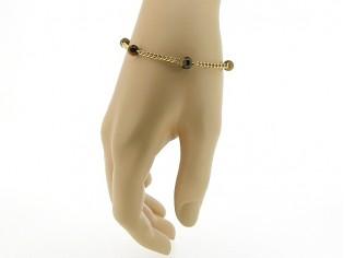 Gouden armbandje met Tijgeroog edelsteentjes en gourmet schakelketting