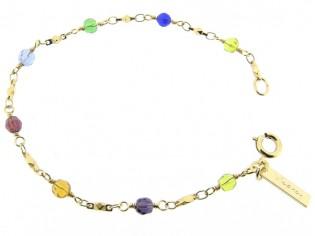 Gouden armbandje met fantasie schakeltjes en rond gefacetteerd gekleurde swarovski kristallen