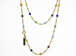 Gouden halsketting schakel collier met rond gefacetteerde gekleurde swarovski kristallen