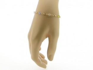 Gouden armbandje met fantasie schakeltjes en rond gefacetteerde gekleurde Swarovski kristallen