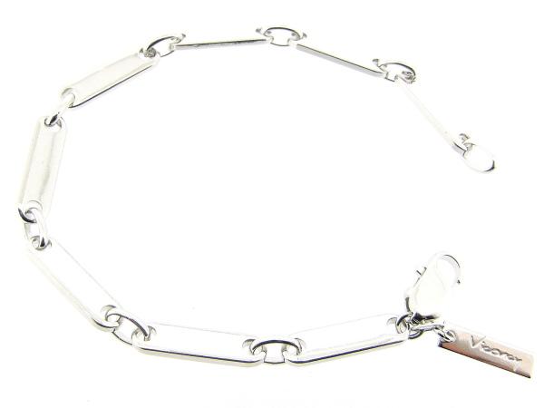 Zilveren schakel armbandje met sportieve plaatjesschakel