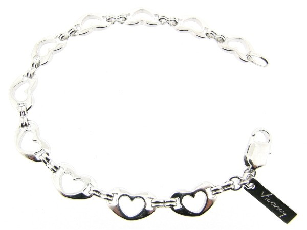 Zilveren armband met hartjes geschakelde ketting