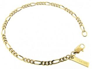 Gouden armbandje met hoogglanzend Figaro schakeltjes
