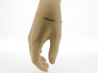 Gouden armbandje met fragiel platte hoogglanzende gourmet schakeltjes