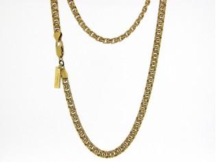 Gouden halsketting gevochten cocktail halsketting type Garibaldi collier