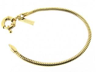 Gouden armband met ronde cobra slangen schakelketting en grote veersluiting