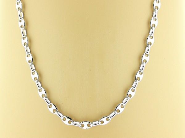 Zilveren halsketting met anker schakeltjes