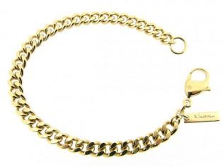 Gouden armband met grote gourmet schakels en karabijn sluiting