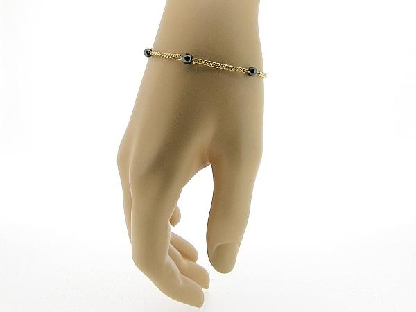 Gouden armbandje met Hematiet edelsteentjes en gourmet schakelketting