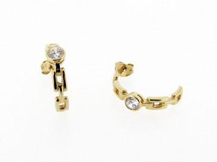 Gouden oorsteker Franse type met zirkonia steen