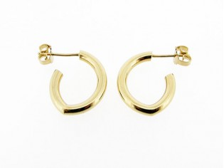 Gouden creool oorsteker met gebroken motief