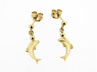 Gouden oorhangertje dolfijntjes