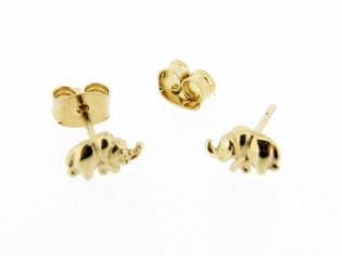 Gouden kinder oorknop olifantjes