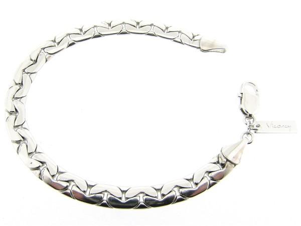 Zilveren schakel armband met plat gevlochten gourmet ketting