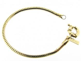 Gouden armband met facet geslepen slangen schakeltjes en grote veersluiting