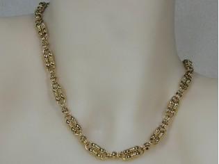Gouden halsketting modieuze schakel collier met bewerkte schakeltjes