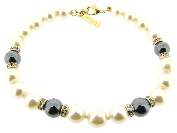 Gouden parel armbandje handgeknoopt met Hematiet edelstenen