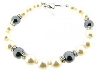 Armbandje met handgeknoopte Boheemse parels en Hematiet edelstenen gecombineerd met Swarovski rondellen