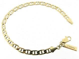 Gouden armbandje met open gourmet en anker schakeltjes