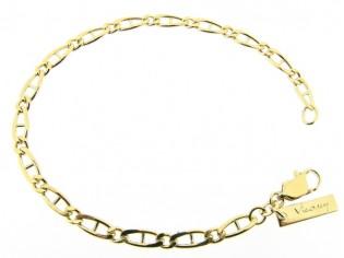 Gouden armbandje met platte fantasie figaro geslepen schakeltjes