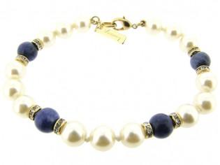 Armbandje met handgeknoopte Boheemse parels en Sodaliet edelstenen gecombineerd met Swarovski rondellen