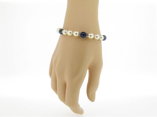 Zilveren parel armbandje handgeknoopt met Sodaliet edelstenen