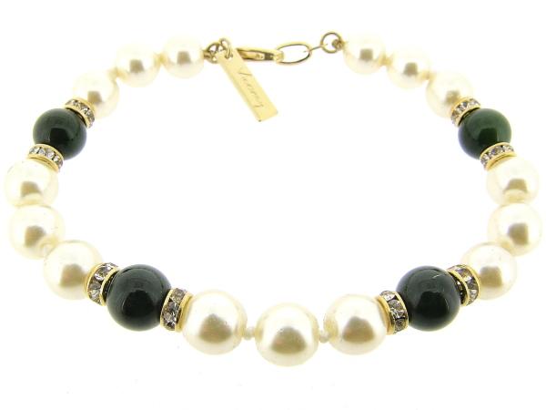 Armbandje met handgeknoopte Boheemse parels en donkere Jade edelstenen gecombineerd met Swarovski rondellen
