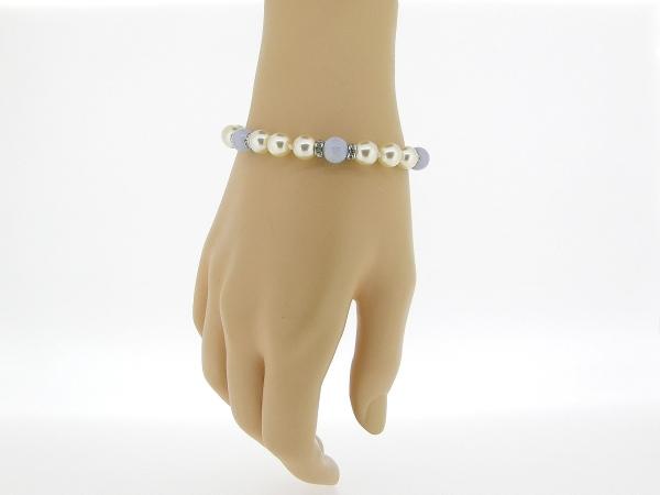 Zilveren parel armbandje met bleu Lace Agaat en handgeknoopte parels