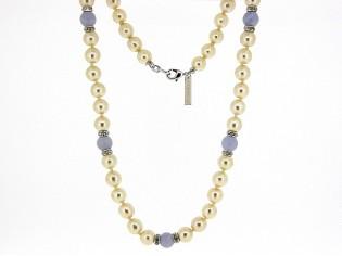 Zilver parel collier met Bleu Lace Agaat edelstenen