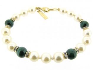 Armbandje met handgeknoopte Boheemse parels en Malachiet edelstenen gecombineerd met Swarovski rondellen