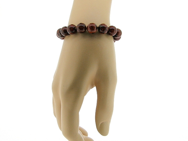 Armband met hoogglanzende Brekzien Jaspis handgeknoopte edelstenen